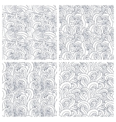 Set of four seamless pattern with abstract doodle vector image
