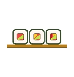 Set of rolls on wooden plate japanese cafe menu vector