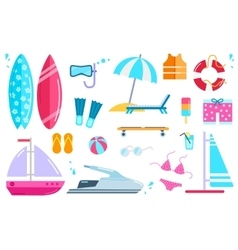 Set Summer Beach Icons vector image
