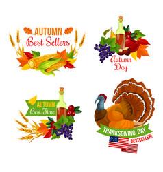 Thanksgiving sale icon of autumn season holiday vector