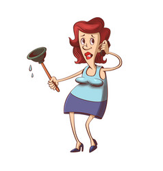 Woman with plunger vector