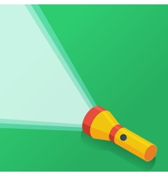 Yellow flashlight in flat style on green vector image