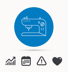 Sewing machine icon embroidery sign vector