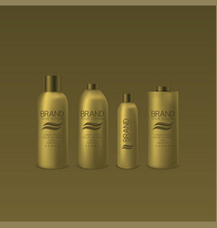 Golden shampoo and foam bottles vector