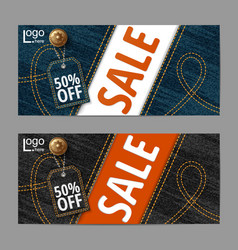 denim texture jeans bannersale banners design vector image