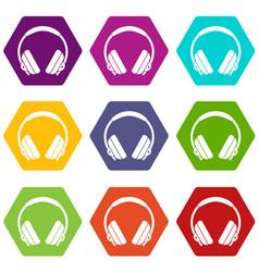 Headphone icon set color hexahedron vector