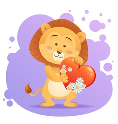 Cute toy Lion pet isolated holding heart vector image