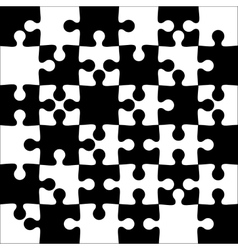 Background black and white jigsaw puzzle vector