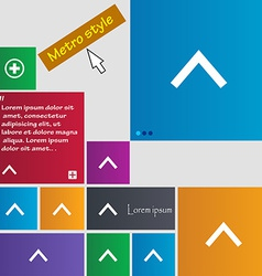 Direction arrow up icon sign metro style buttons vector