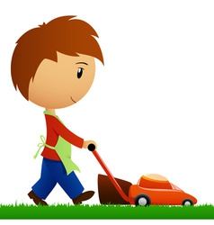 Man cutting the grass with lawn mower vector