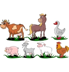 Set of cartoon domestic animals vector