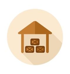 Shed flat icon with long shadow vector