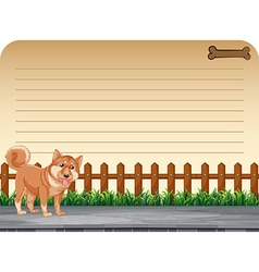 Paper design with pet dog on the road vector