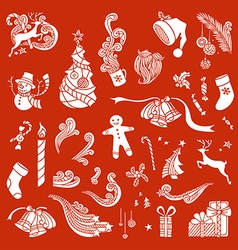 Set of christmas object silhouettes vector