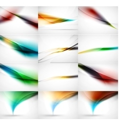Abstract background set blurred wave templates vector