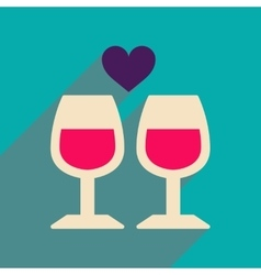 Flat web icon with long shadow wine glasses vector