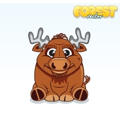 Cute Cartoon Forest Elk Funny Animal vector image