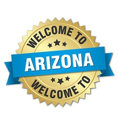 Arizona 3d gold badge with blue ribbon vector