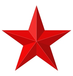 Red star 3d shape vector