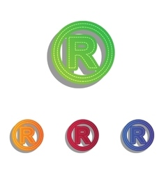 Registered trademark sign colorfull applique vector