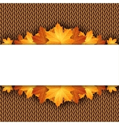 Autumn knitted warm background with space for text vector image