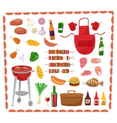 Bbq party elements isolated on white background vector