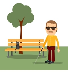 Blind man in the park vector image