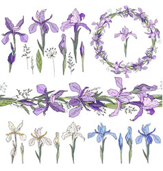 blue irises - elements isolated objects wreath vector image vector image
