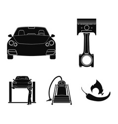 Car on lift piston and pump black icons in set vector
