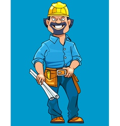 cartoon man working in a helmet with drawings vector image vector image