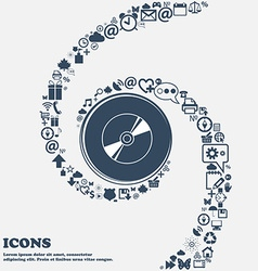 Cd DVD compact disk blue ray icon sign in the vector image vector image