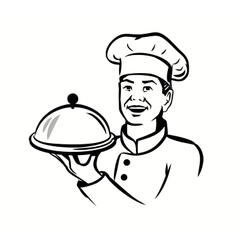 Chef with hat and hot plate vector