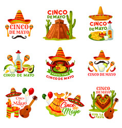 Cinco de mayo fiesta party icon of mexican holiday vector