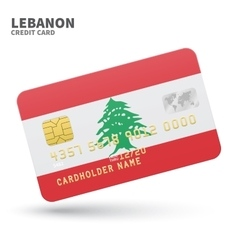 Credit card with lebanon flag background for bank vector