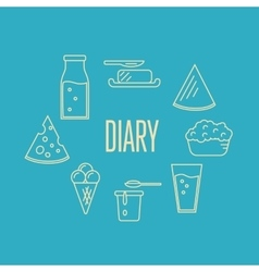Dairy banner with milk products composition vector image vector image