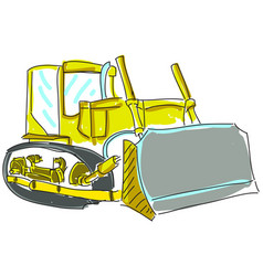 Drawn excavator on white vector
