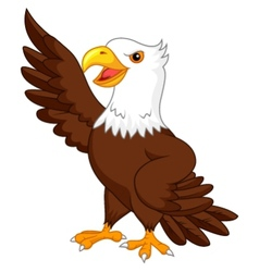 Eagle cartoon waving vector image