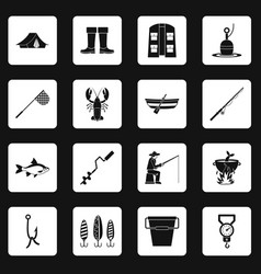 Fishing tools icons set squares vector