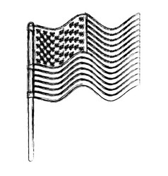 Flag united states of america in pole waves in vector