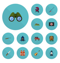 Flat icons zoom ship lifesaver and other vector