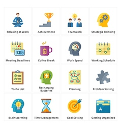 Flat productivity at work icons vector