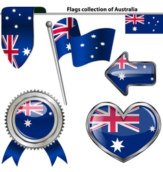 Glossy icons with australian flag vector