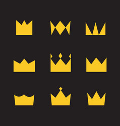 golden crowns on a black background simple style vector image vector image