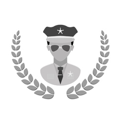 grayscale police badge icon image vector image