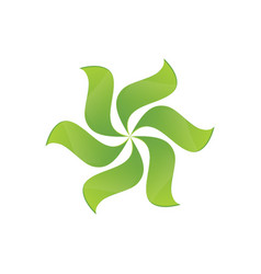 Green leaves swirl logo image vector