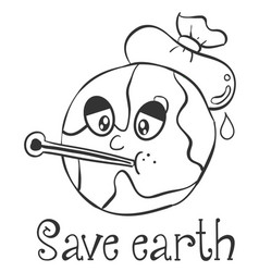 Hand draw save earth design vector
