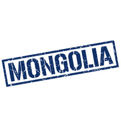 Mongolia blue square stamp vector