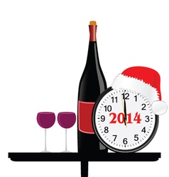 New 2014 year with bottle of wine and clock vector