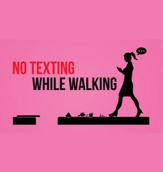 no texting while walking vector image