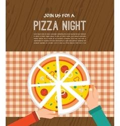 Pizza night invitation people having dinner vector